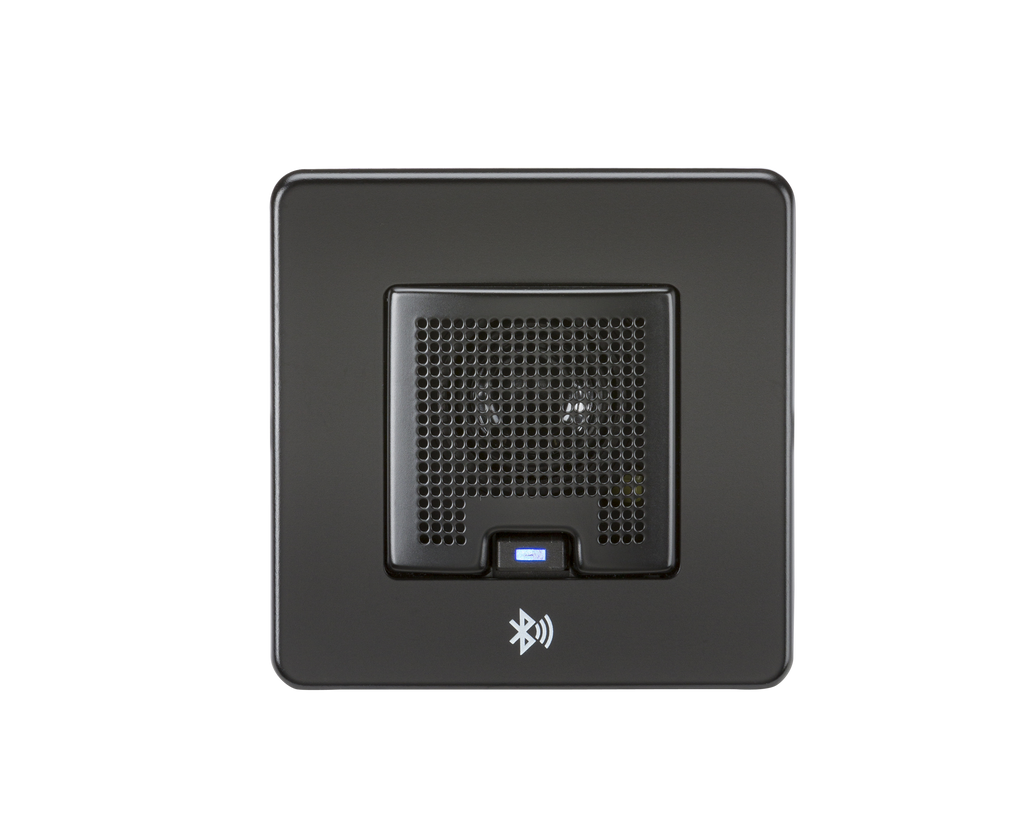 Screwless 3W RMS Bluetooth Speaker Outlet - Matt Black | iLite Lighting