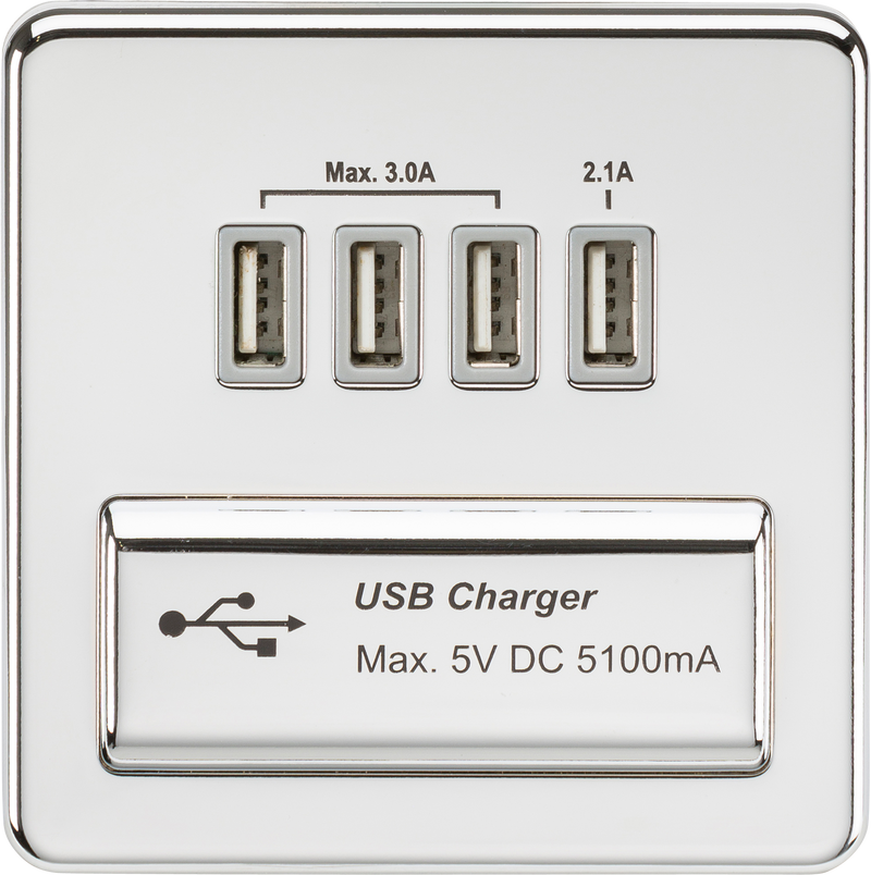 Screwless Quad USB charger Outlet (5.1A) - Polished chrome with grey insert      32.90  Knightsbridge