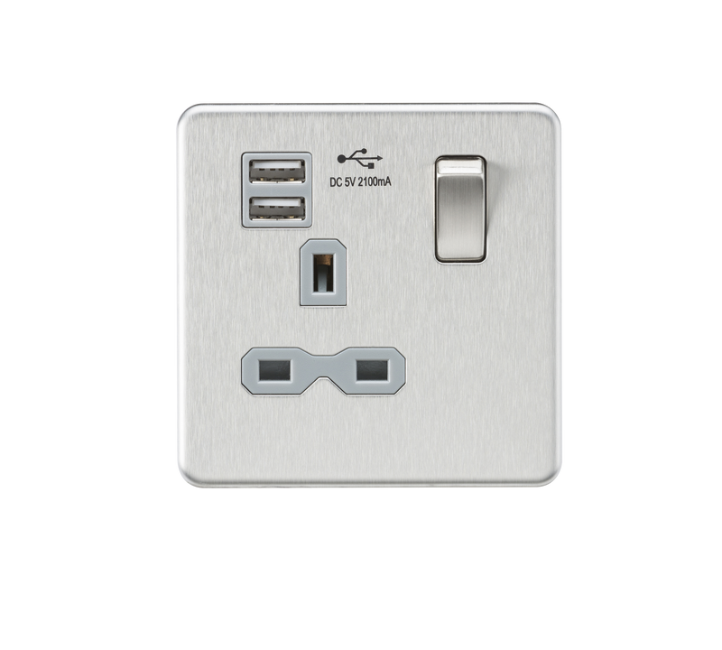 Screwless 13A 1G switched socket with dual USB charger (2.1A) - brushed chrome with grey insert      21.90  Knightsbridge