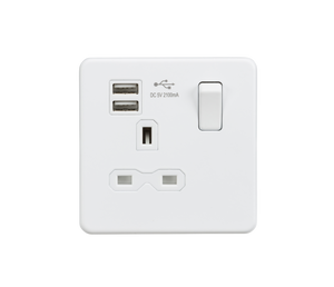 Screwless 13A 1G switched socket with dual USB charger (2.1A) - matt white | iLite Lighting