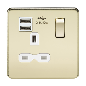 Screwless 13A 1G switched socket with dual USB charger (2.1A) - polished brass with white insert      21.90  iLite Lighting