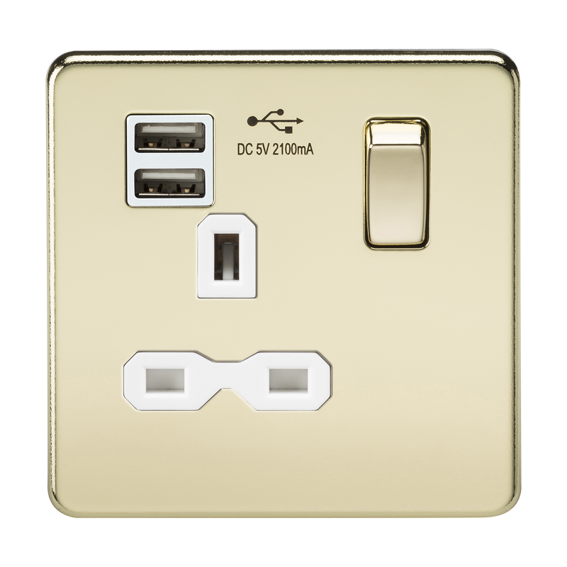 Screwless 13A 1G switched socket with dual USB charger (2.1A) - polished brass with white insert      21.90  Knightsbridge