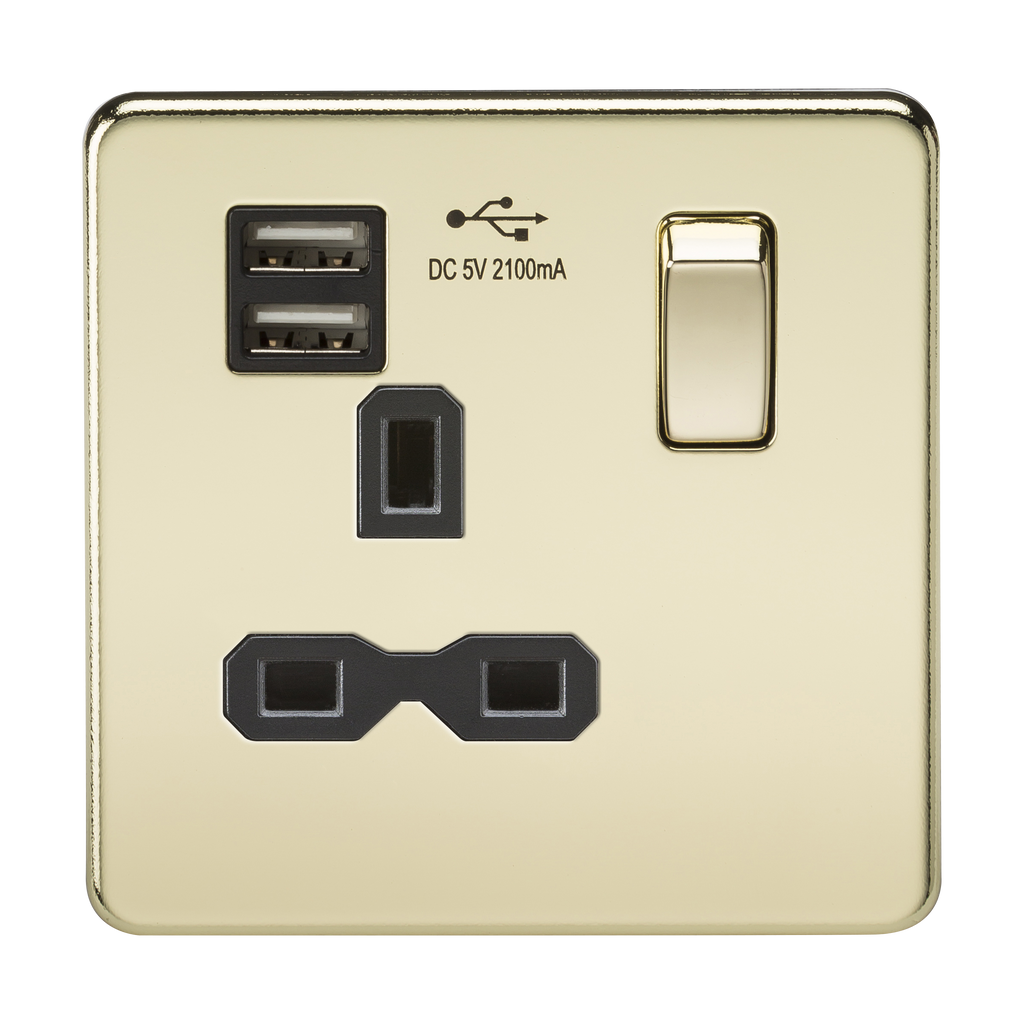 Screwless 13A 1G switched socket with dual USB charger (2.1A) - polished brass with black insert      21.90  Knightsbridge