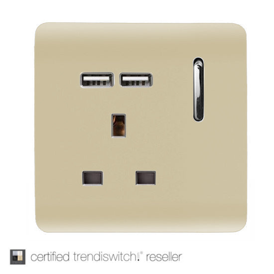 1 Gang 13 amp Switched Single Socket USB Gold      14.95  Trendiswitch