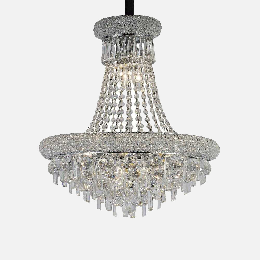 Sinistra 9 Light Crystal Suspension Light - Chrome