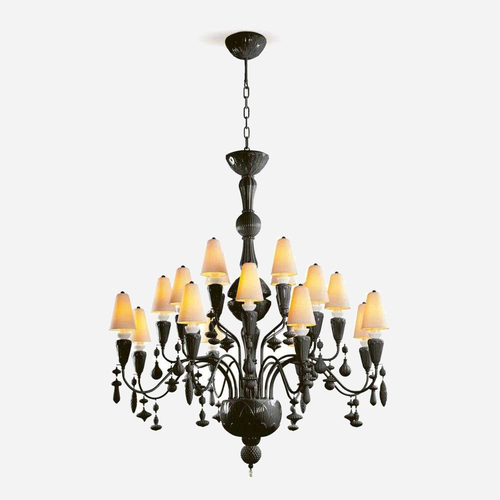 Ivy and Seed 20 Lights Chandelier - Absolute Black