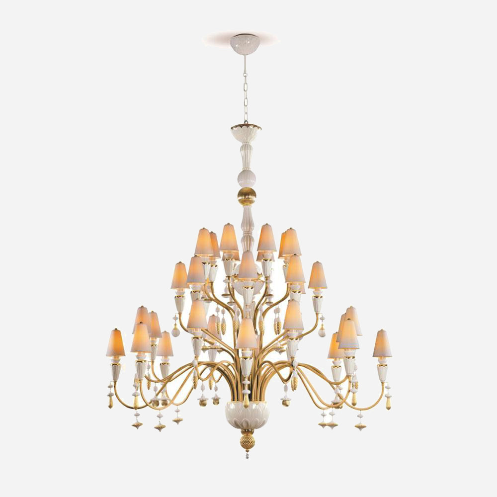 Ivy and Seed 32 Lights Chandelier - Golden Luster