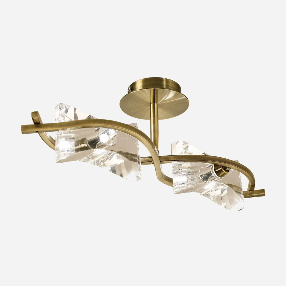 Ogni 2 Light Ceiling Light - Antique Brass | iLite Lighting