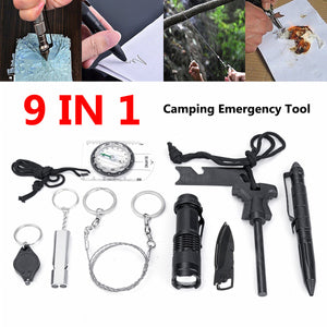 9 in 1 SOS Emergency Camping Survival Equipment Kit Camping Tactical Gear Tool - MAKES A GREAT GIFT!