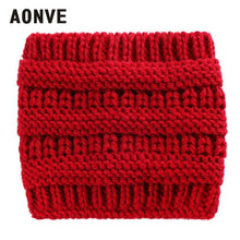 Aonve Knitted Tube Ponytail Hats Women Plain Pony Tail Winter Bonnet Ladies Casual Knit Beanies 2018 Invierno Hat