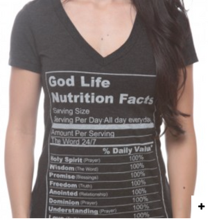 God Life Nutrition Facts- Womens Christian T-Shirts - Christian Clothing Malachi Clothing Co