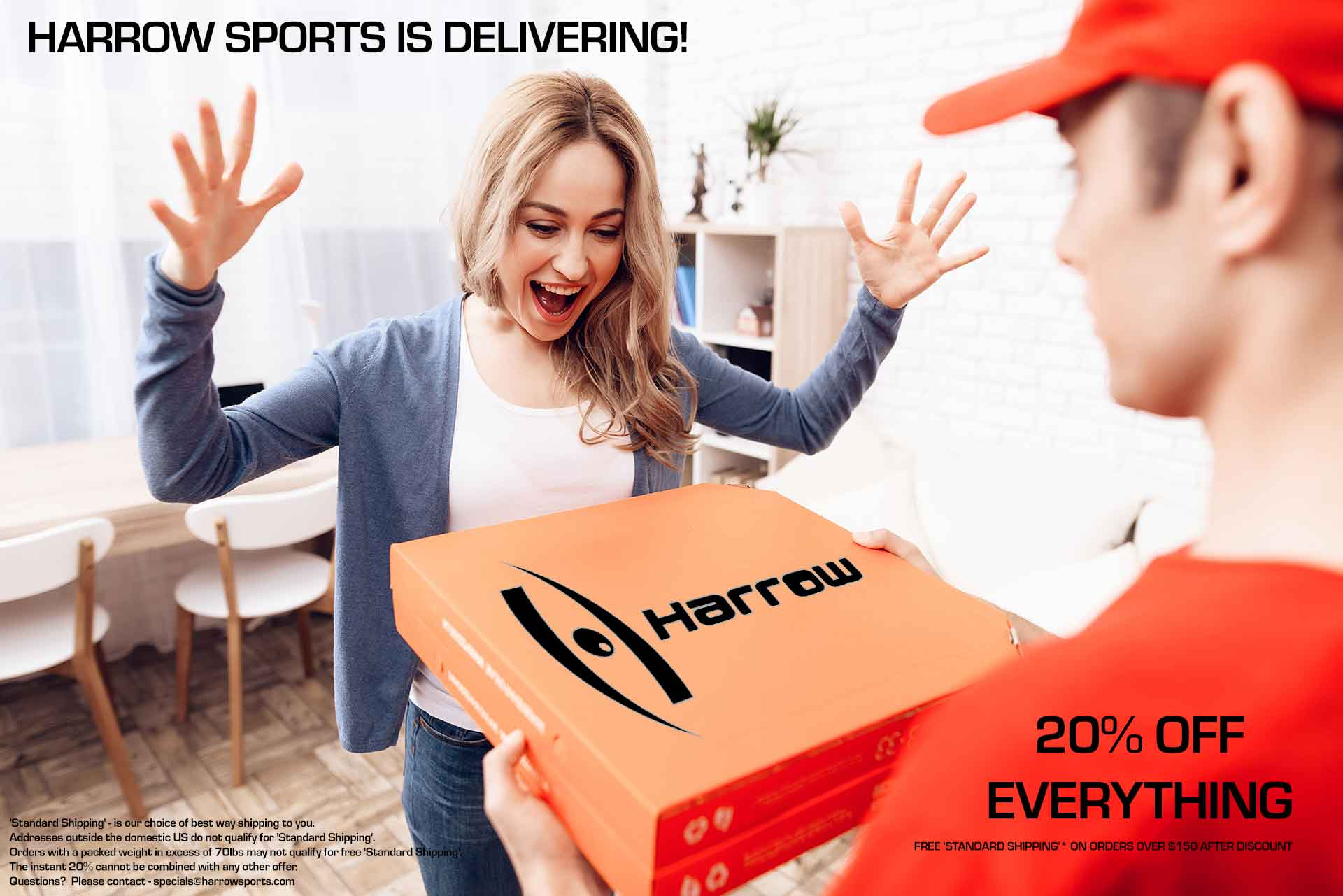 Harrow Sports is Delivering - 20% Off Everything
