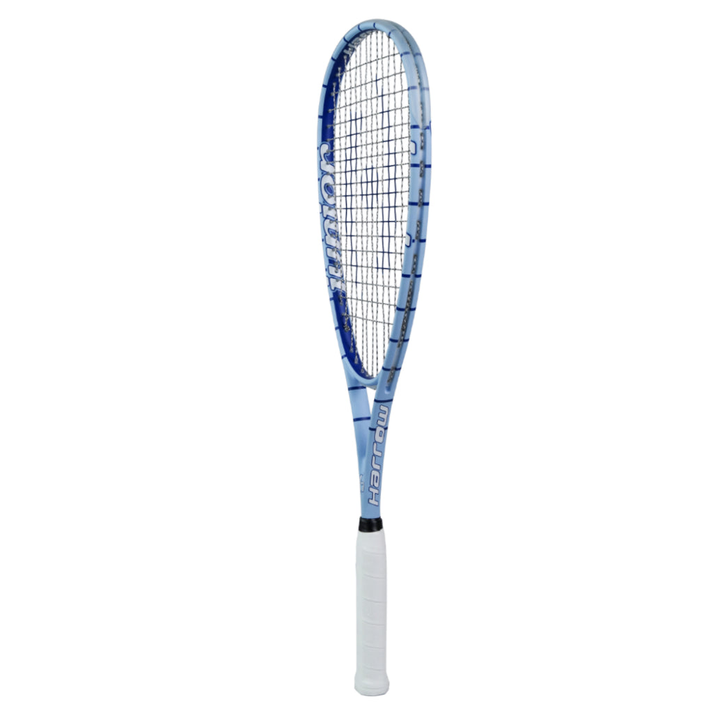 NEW Junior Squash Racquet, with 1/2 Cover, CarolinaBlue/Royal Blue - Harrow Sports