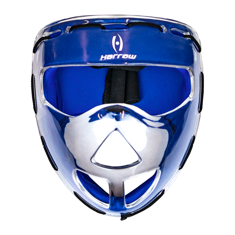 Clear Face Mask, Blue Padding - Harrow Sports