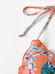 Multi-Color Floral Print Frilled String Tied Bikini