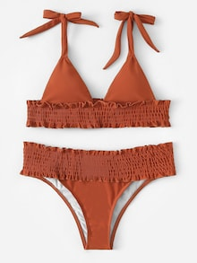 Solid Print Brown Frilled String Tie Top, Low Rise Bottom Bikini