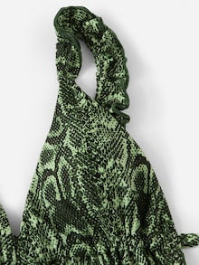 Green Snake Print Frill Top With Tanga Bottom Bikini
