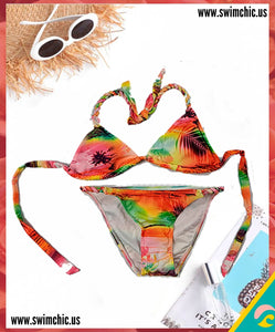 Fluorescent Tropical Print Bikini