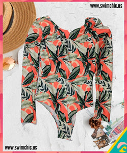 Long Sleeve One Piece Tropical Print