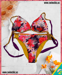 Tropical Print Bikini with Braided Strings