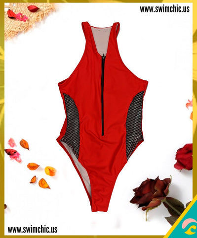Red One Piece with Mesh Cutouts and Back Zipper