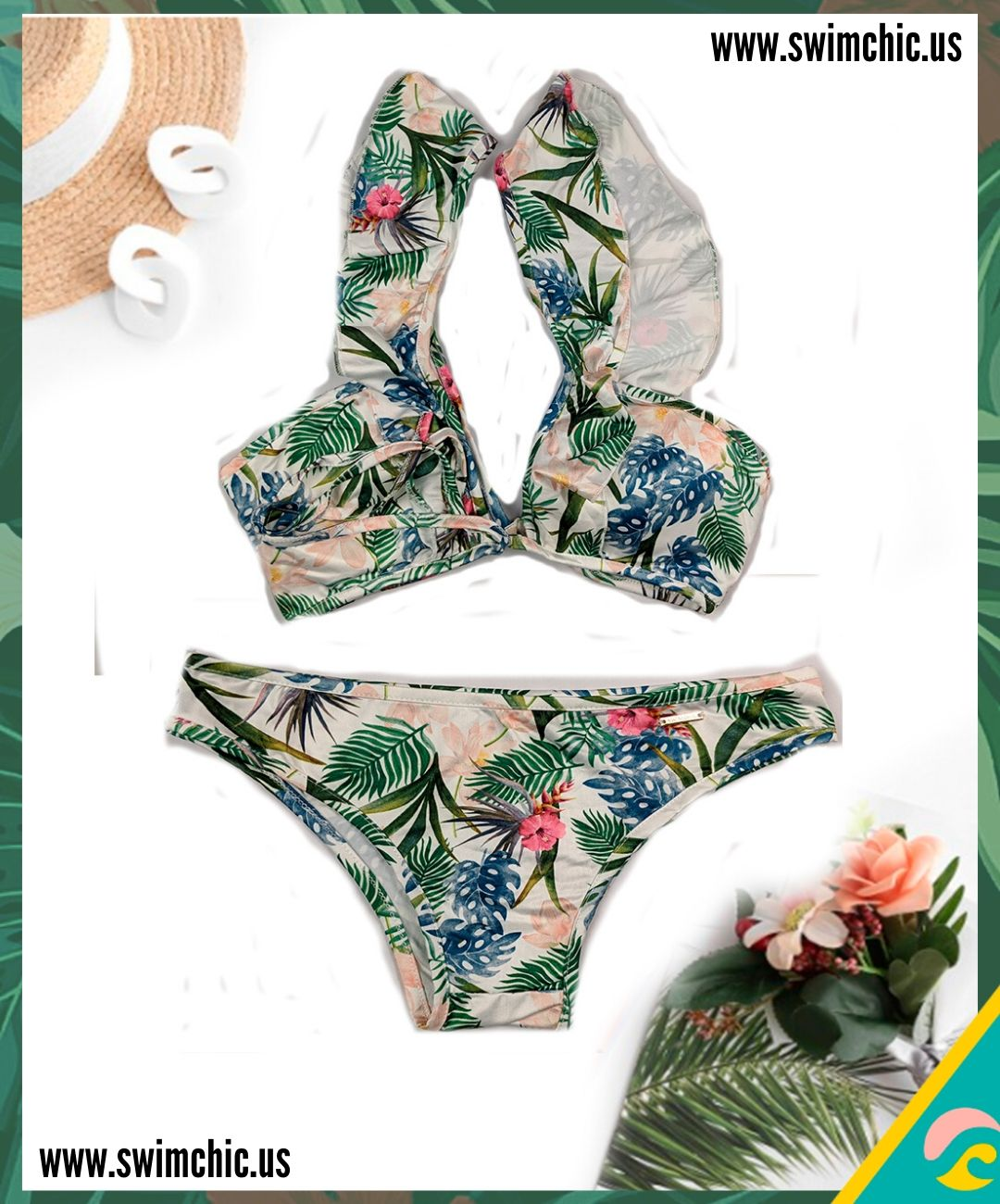 Tropical Print Vee Top with Ruffled Straps