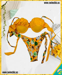 Yellow and Rose Print Bikini with Ruffled Top