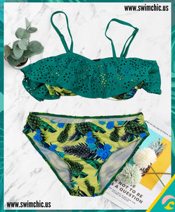 Green and Floral Print with Ruffled Top Bikini