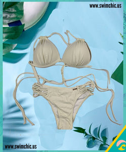 Pale Green Bikini with String Sides and Ties