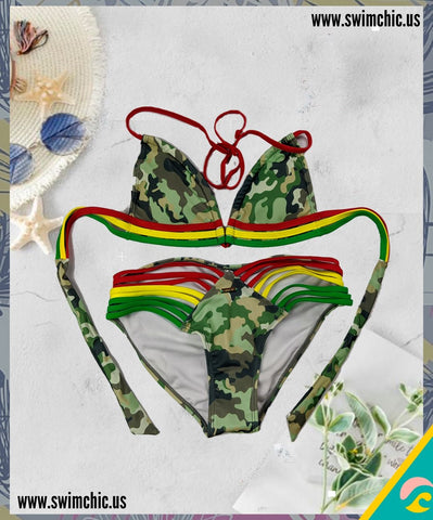 Camo Bikini with Colored Strings