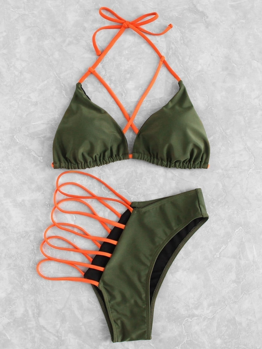 Criss-Cross Green and Orange Halter Top Bikini