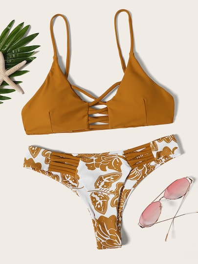 7 Floral Print Ladder Cut Bottom with Ginger Solid Print Top Bikini