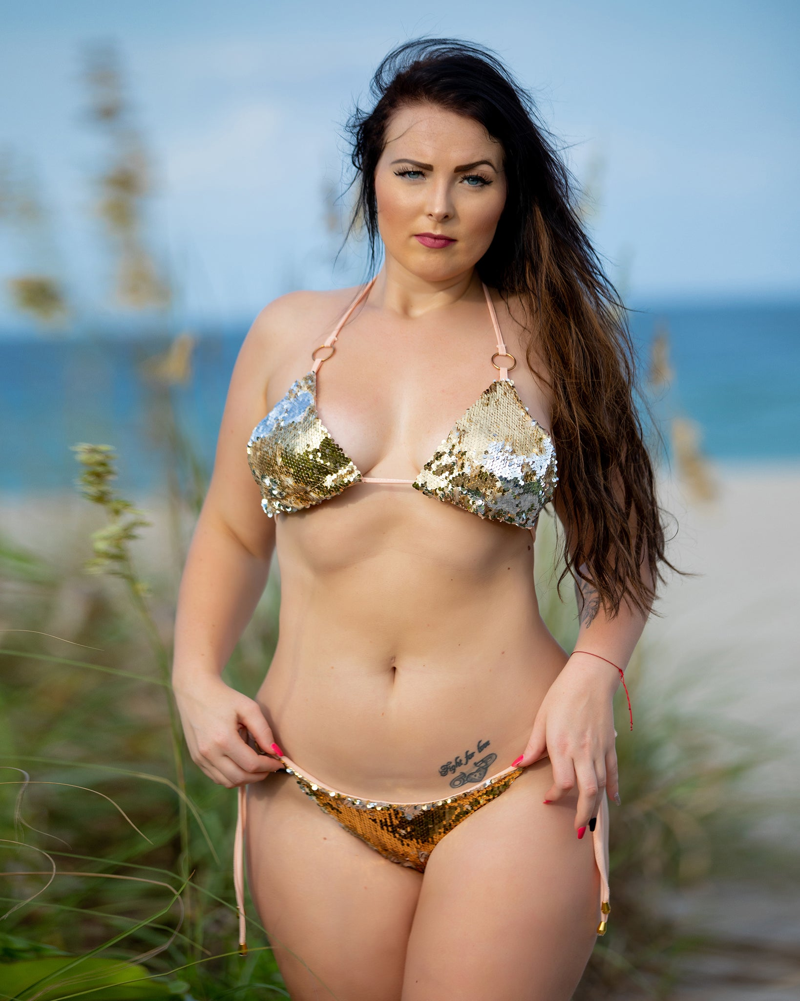 16 Metallic Gold Sequin Bikini