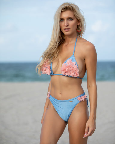 31 Solid Blue Bikini with Pink Floral Applique Top