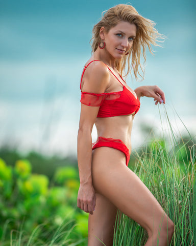 Solid Red Bikini with Lacey Hip and Upper Arm Accents