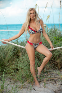 14 Leopard Print with Red Ruffle Details Bikini