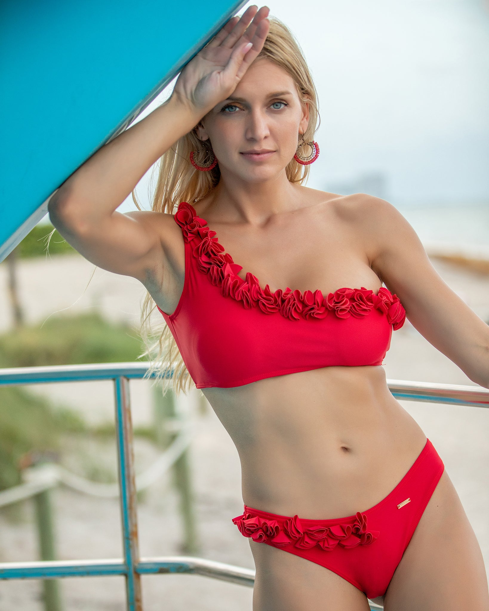 Solid Print Red Ruffled One Shoulder Bikini w/Flower Detail