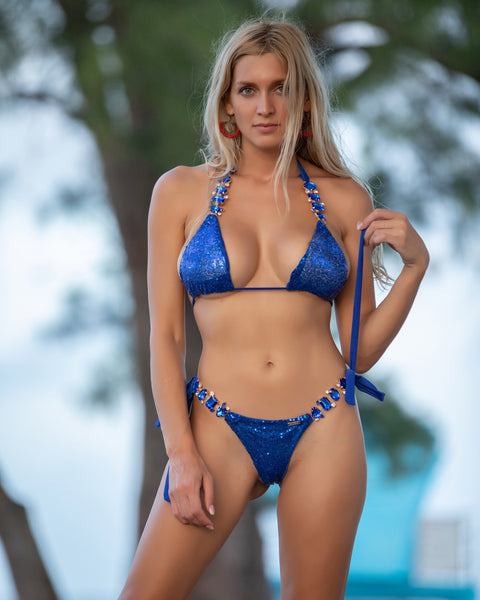 2 Blue Sparkle Bikini with Gem and Gold Accents