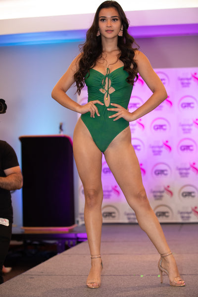 9 Green Deep Cut Front, Open Back 1 Piece Swimsuit