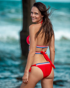 Red Solid Print with Red-White-Blue Tape Detail String Tie Bikini