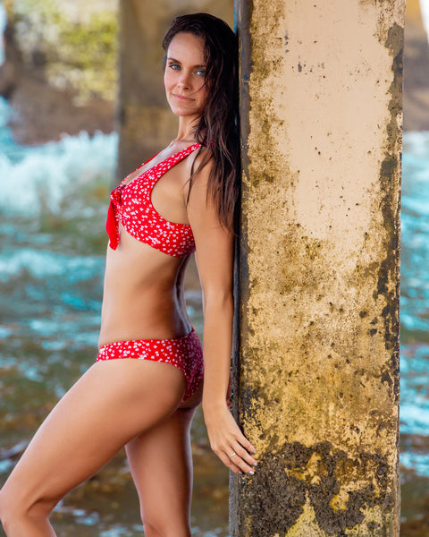 19 Petunia Print Red Bikini with Knot Detail Top