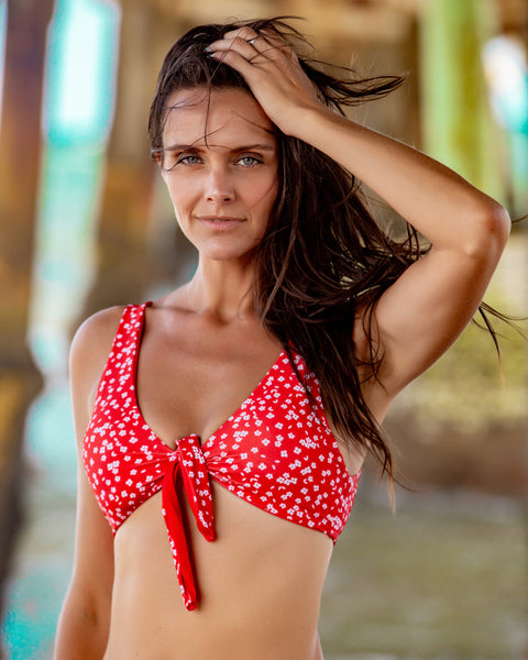 Petunia Print Red Bikini with Knot Detail Top