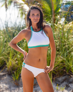 White with Green Hem Detail Halter Top Bikini