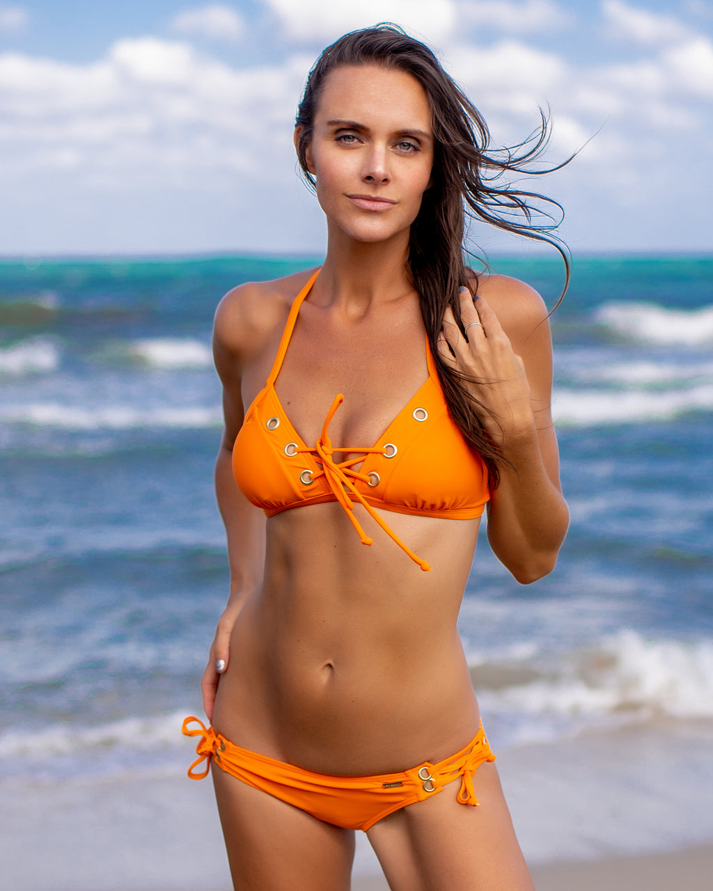 Orange with Metal Grommet Accent Bikini