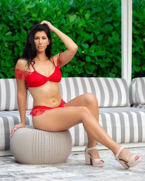 42 Solid Red Bikini with Lacey Hip and Upper Arm Accents