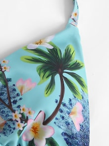 Tropical Flower and Palm Tree Print Blue Tone String Tie Bikini