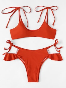 Solid Red Print, Cut Out Bottom with Ruffles String Tied Bikini