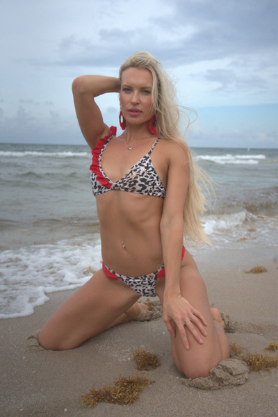Leopard Print with Red Ruffle Details Bikini