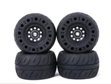 Free Shipping 4 Black Carve 115mm Airless Rubber Wheels with 2 Direct Drive Motor KEGEL Adapter