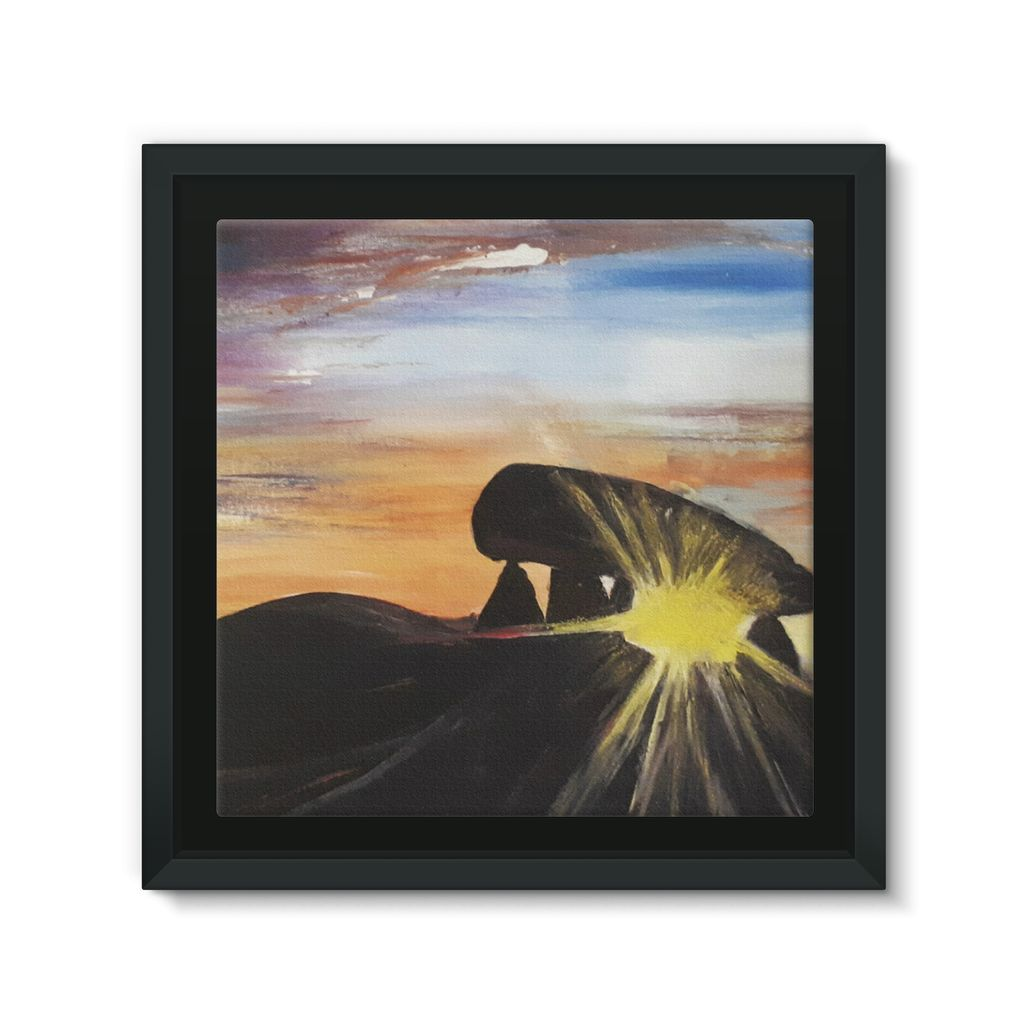 Pentre Ifan - Sunshine through the stones Framed Canvas